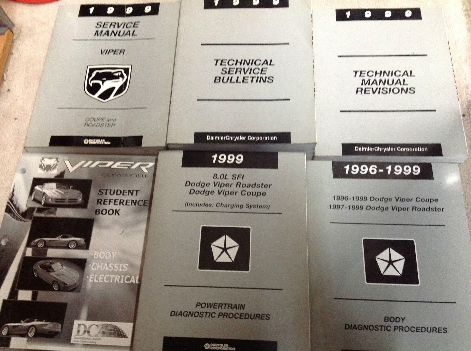 1999 Dodge Viper Coupe Roadster Service Shop Manual SET W BULLETINS + REVISIONS