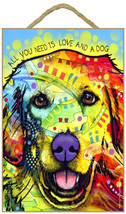 "All You Need is Love and a Dog Golden Retriever Sign 7""x10.5"" plaque Dea... - $12.99"