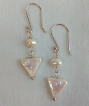 Triangle pearl drop earrings - $7.95