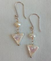 Triangle pearl drop earrings - $7.95