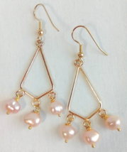 Pink pearl drop earrings - $7.95