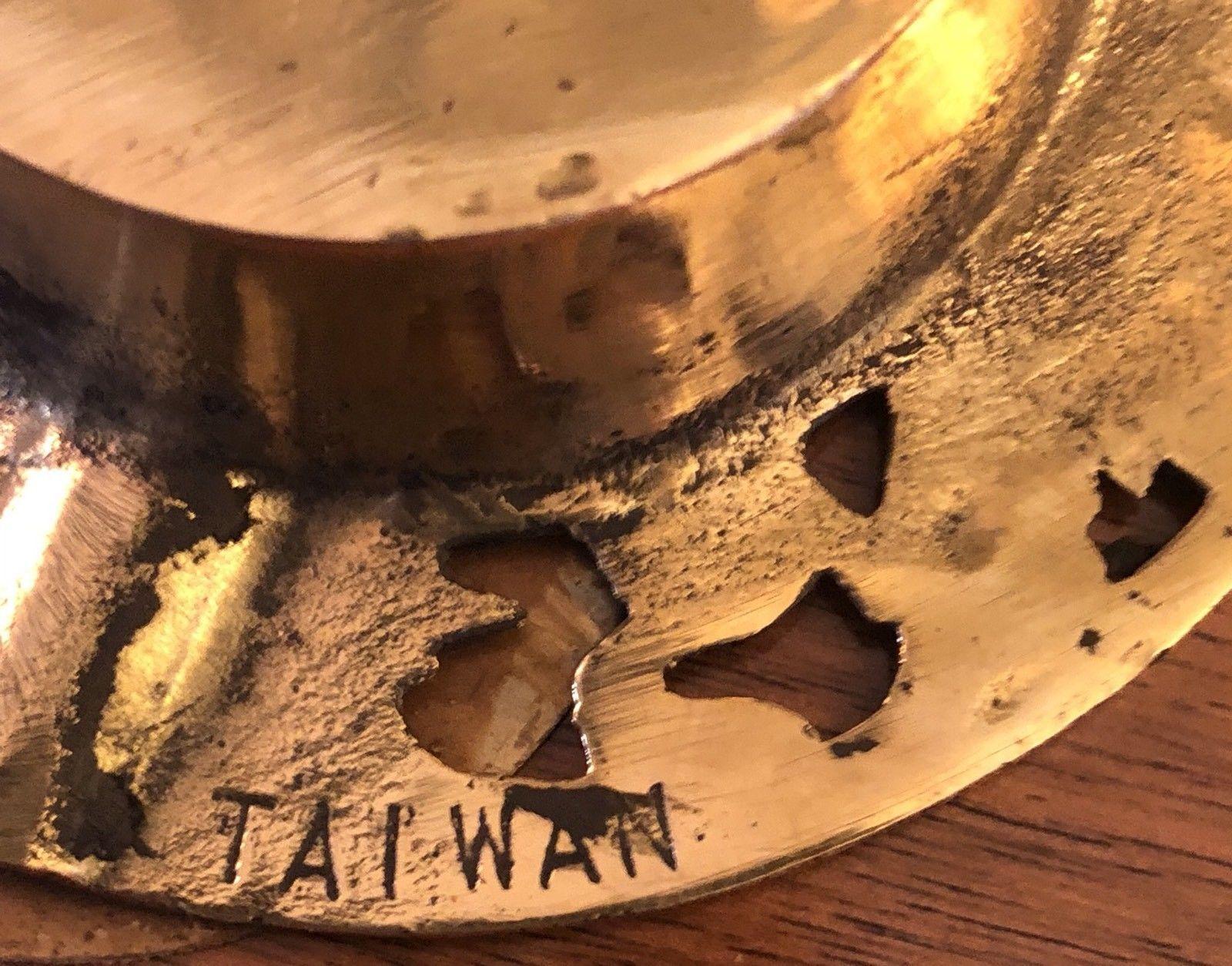 "Vintage Set of 4 3.25"" Diameter Brass Taiwan Character Ashtrays"