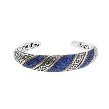 Phillip Gavriel 18k Gold & Sterling Silver Blue Sapphire Cuff Bangle Bra... - $1,399.99