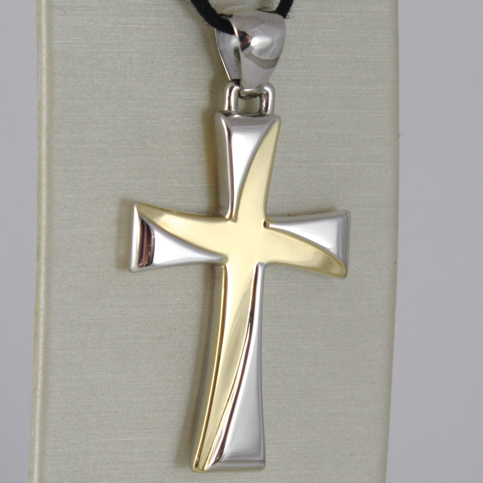 CROSS WHITE GOLD AND YELLOW 750 18K, PENDANT, SQUARED, CARVED, STYLIZED