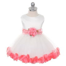Ivory Bridal Satin Layers Tulle Skirt Coral Organza Sash Petals Girl Dress - $38.00