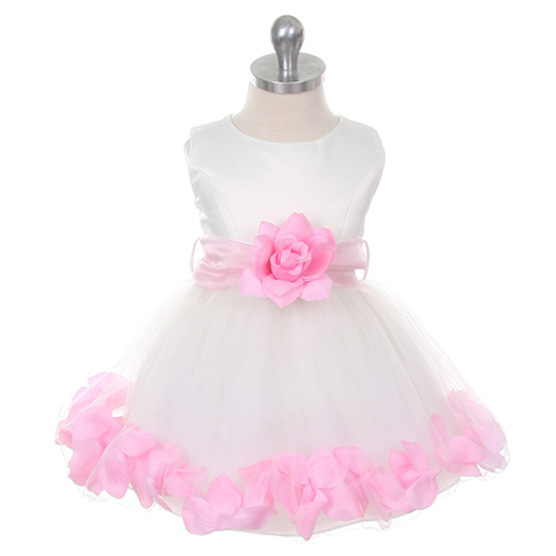 Ivory Bridal Satin Layers Tulle Skirt Coral Organza Sash Petals Girl Dress