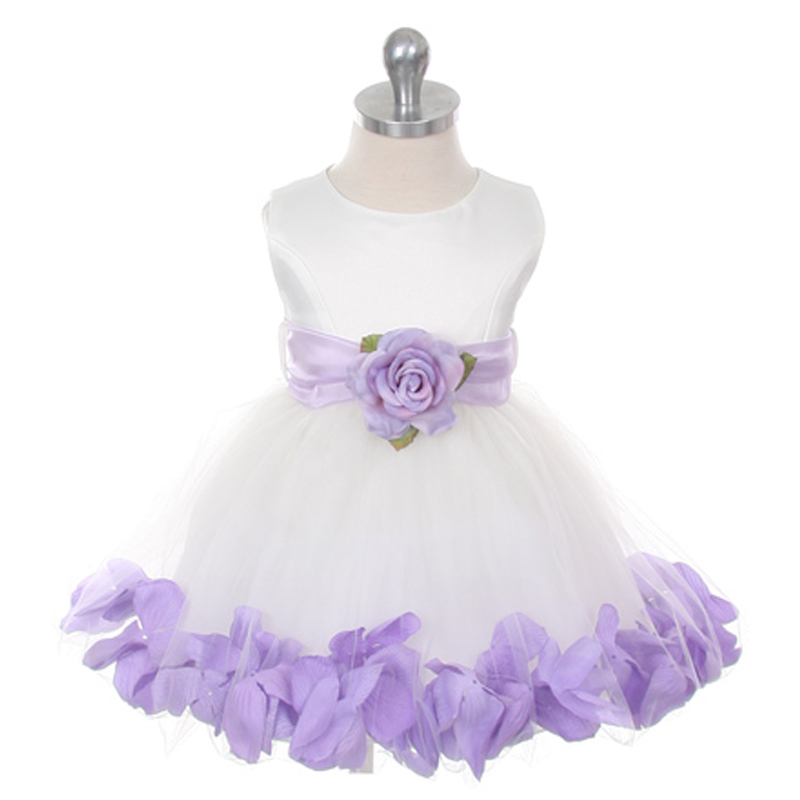 Ivory Bridal Satin Layers Tulle Skirt Lilac Organza Sash Petals Girl Dress