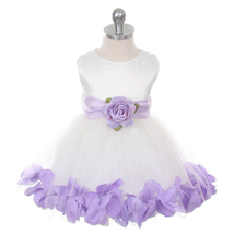Ivory Bridal Satin Layers Tulle Skirt Lilac Organza Sash Petals Girl Dress - $38.00