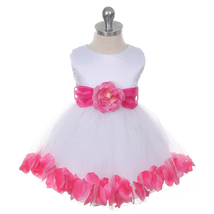 White Bridal Satin Layers Tulle Skirt Fuchsia Organza Sash Petals Girl D... - $38.00