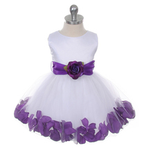 White Bridal Satin Layers Tulle Skirt Purple Organza Sash Petals Girl Dress - $38.00