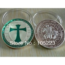 Knights Templar Green Layered 1oz Cross Coin .999 Fine Silver Plated  - $4.90
