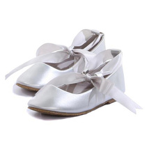 Silver Balerina Shoes with Rubbon Ties Bridesmaid Birthday Party Flower Girl - $27.00