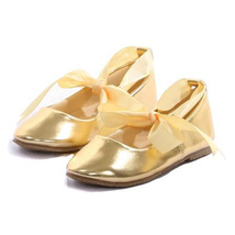 Gold Balerina Shoes with Rubbon Ties Bridesmaid Birthday Party Flower Girl - $27.00