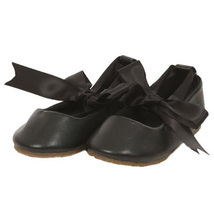 Black Balerina Shoes with Rubbon Ties Bridesmaid Birthday Party Flower Girl - $27.00