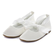 Ivory Balerina Shoes with Rubbon Ties Bridesmaid Birthday Party Flower Girl - $27.00