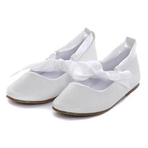 White Balerina Shoes with Rubbon Ties Bridesmaid Birthday Party Flower Girl - $27.00