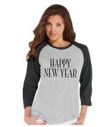 Custom Party Shop Women's Happy New Year New Years Raglan Shirt Large Grey - $20.58