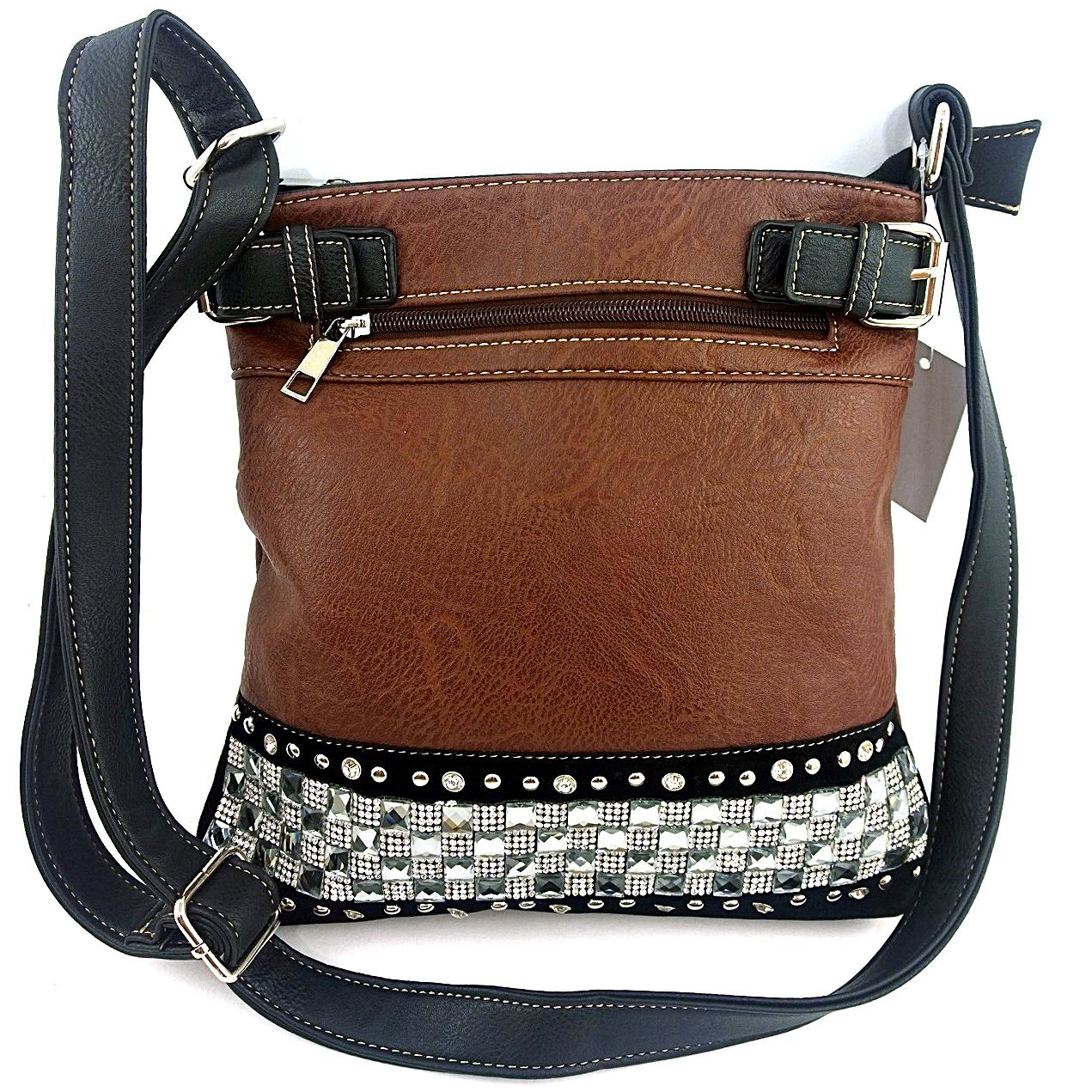 Rhinestone Studded Crystal Squares Messenger Bag Cross Body Purse (Brown)