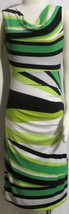 NEW Womens Ladies TRIBAL Greens White & Black Stripe Shapely Stretch Dre... - $21.59