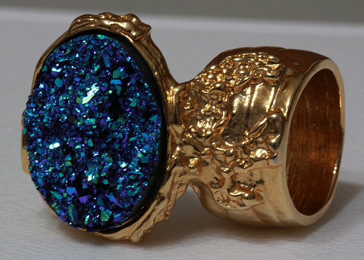 Arty Oval Ring Druzy Style Blue Green Gold Armor Woman Statement Size 4.5