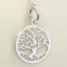 18K WHITE GOLD TREE OF LIFE ROUND FLAT PENDANT CHARM, 0.85 INCHES MADE IN ITALY image 1