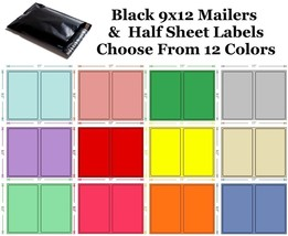 9x12 ( Black ) Poly Mailers + Colored Half Sheet Self Adhesive Shipping ... - $2.99+