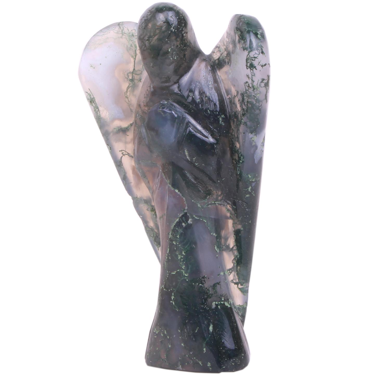 Moss agate angel gemstone healing handmade stone carving