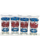 Pepsi Cola Drinking Glasses Stained Glass Red Blue Vintage 1970's Lot of 4 - $79.95