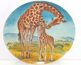 Giraffe Baby Collector Plate Kiss for Mother Wildlife Hicks Knowles Vintage - $59.95
