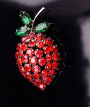 Vintage Strawberry lapel pin / Signed warner brooch / mens lapel pin / r... - $75.00