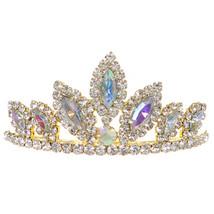 "AB Gold Dazzling Stoned 3' X 1.5"" Tiara Bridesmaid Birthday Party Flower Girl - $12.99"