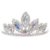"AB Silver Dazzling Stoned 3' X 1.5"" Tiara Bridesmaid Birthday Party Flower Girl - $12.99"