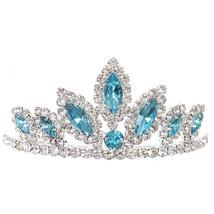 "Aqua Dazzling Stoned 3' X 1.5"" Tiara Bridesmaid Birthday Party Prom Flower Girl - $12.99"