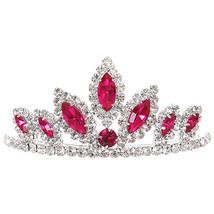 "Fuchsia Dazzling Stoned 3' X 1.5"" Tiara Bridesmaid Birthday Party Flower Girl - $12.99"