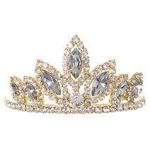 """Gold Dazzling Stoned 3' X 1.5"""" Tiara Bridesmaid Birthday Party Prom Flower Girl - $12.99"""