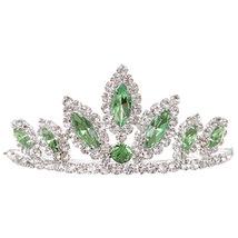 "Green Dazzling Stoned 3' X 1.5"" Tiara Bridesmaid Birthday Party Prom Flower Girl - $12.99"