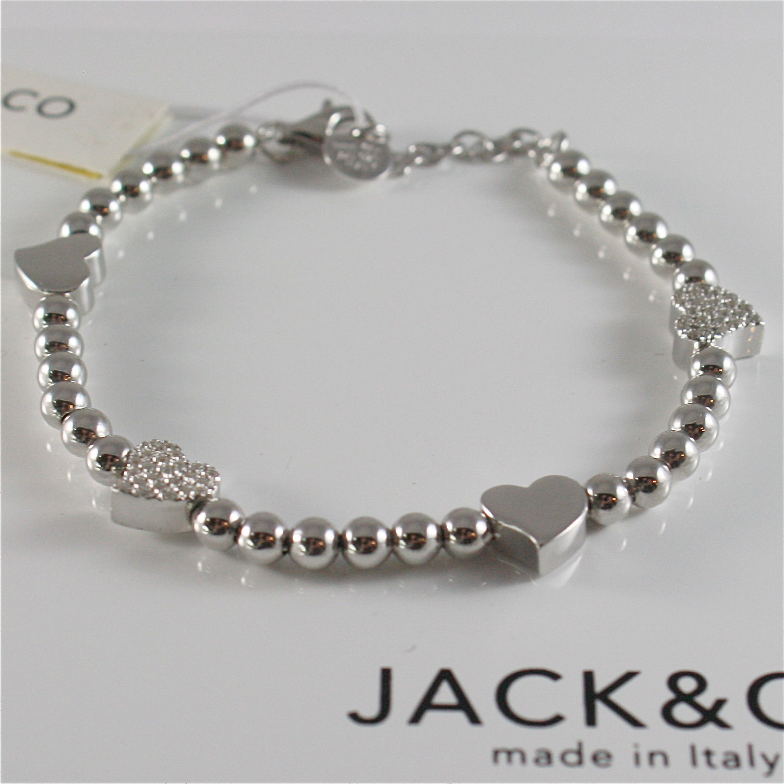 925 RHODIUM SILVER JACK&CO BRACELET WITH SHINY HEART LOVE  MADE IN ITALY 7.25 IN