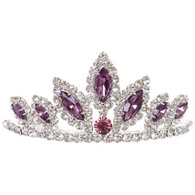 """Lilac Dazzling Stoned 3' X 1.5"""" Tiara Bridesmaid Birthday Party Prom Flower Girl - $12.99"""