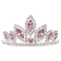 """Pink Dazzling Stoned 3' X 1.5"""" Tiara Bridesmaid Birthday Party Prom Flower Girl - $12.99"""