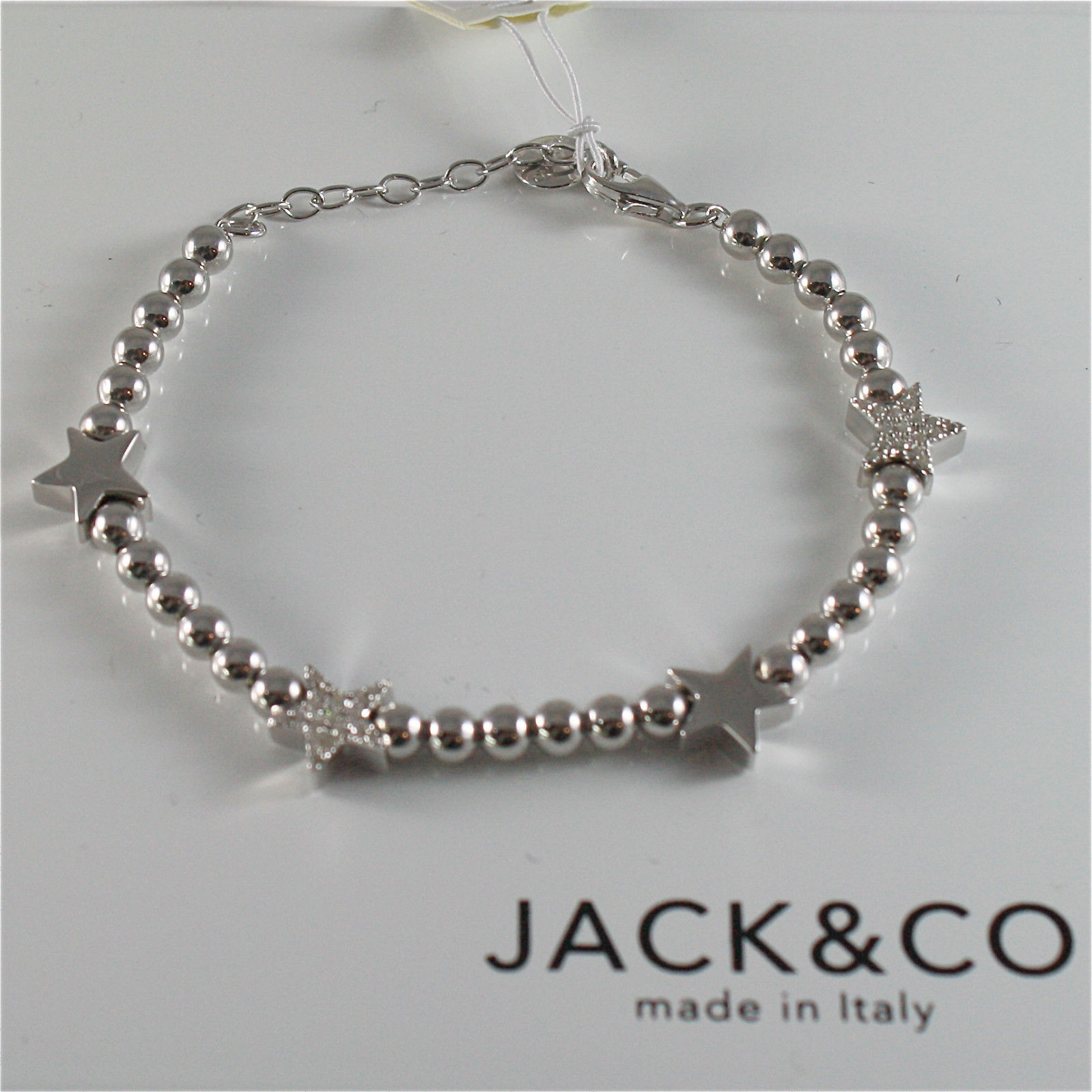 925 RHODIUM SILVER JACK&CO BRACELET WITH SHINY STAR STARLET MADE IN ITALY 7.2 IN