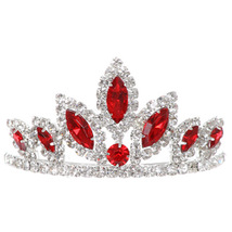 """Red Dazzling Stoned 3' X 1.5"""" Tiara Bridesmaid Birthday Party Prom Flower Girl - $12.99"""
