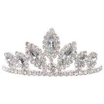 "Silver Dazzling Stoned 3' X 1.5"" Tiara Bridesmaid Birthday Party Flower Girl - $12.99"