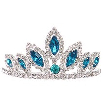 """Teal Dazzling Stoned 3' X 1.5"""" Tiara Bridesmaid Birthday Party Prom Flower Girl - $12.99"""
