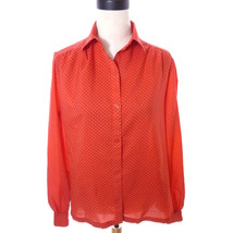 Vintage Red and White Polka Dot Blouse Button Down Shirt large 16 Top - $24.00