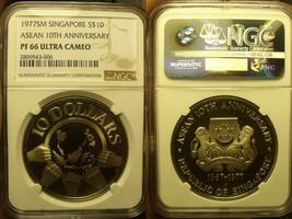 Singapore 1977-SM $10 NGC PF-66 ULTRA CAMEO~Asean 10th Anniversary~10k M... - $71.29