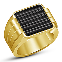 Round Cut Black Diamond 18k Yellow Gold Over 925 Silver Men's Band Weddi... - $145.89