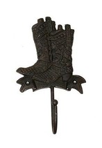 Set of 2 Cast Iron Boot Single Wall Mount Hook Western Decor - $8.90