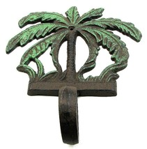 Cast Iron Palm Tree Single Hook Wall Mount With Green Leafs Nautical Decor - $9.89