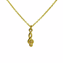 Gold Treble Clef Necklace, Musical Jewelry, Gold Minimalist Jewelry, Mus... - $16.85