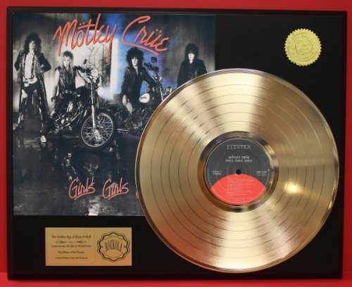 "Motley Crue ""Girls, Girls, Girls"" 24Kt Gold LP Record LTD Edition Display"
